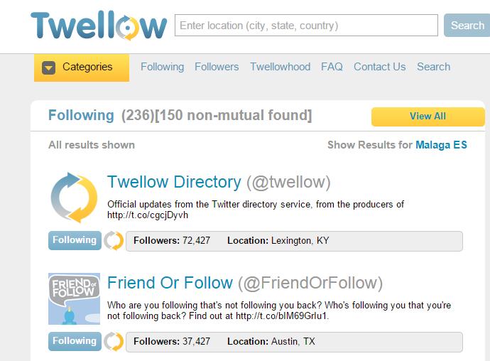 Twellow - Herramientas de Twitter
