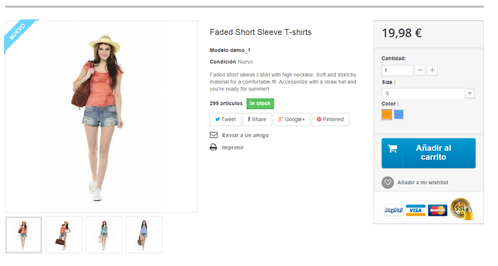 Ficha de Producto eCommerce Prestashop
