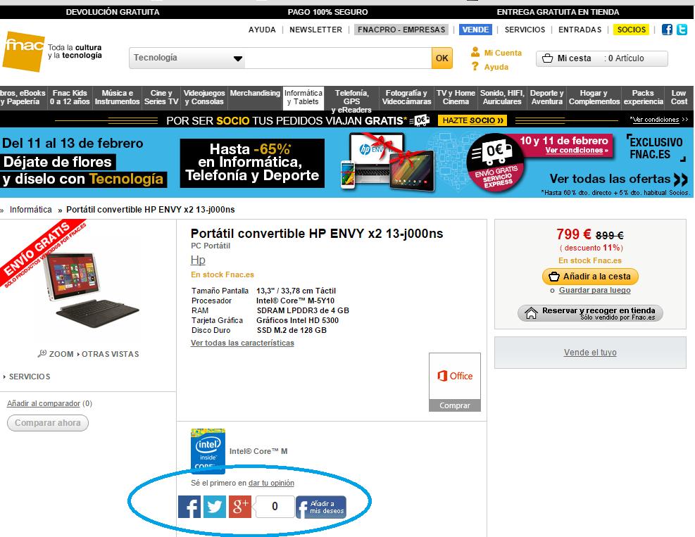 Ficha de producto en eCommerce - RRSS