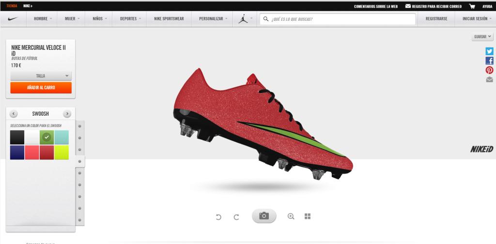 Ficha del producto en eCommerce - Nike