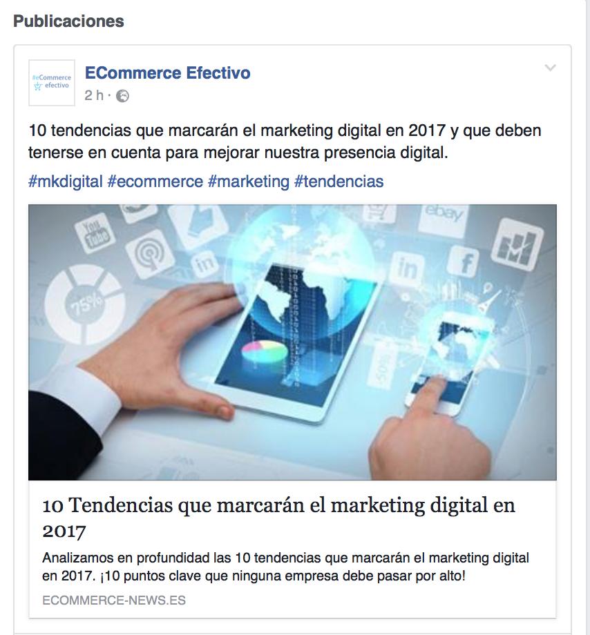 Publicación de posts en redes sociales