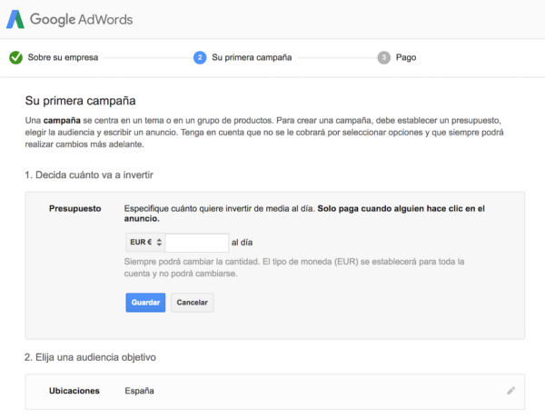 Google adWords Registro
