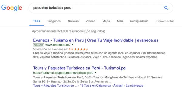Anuncios Google adWords para Empresas turisticas