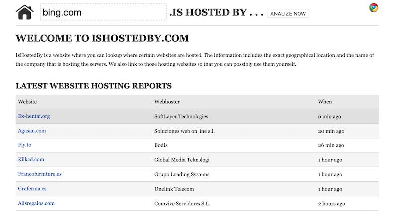 Como saber quien es mi proveedor hosting - ishostedby