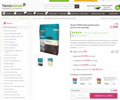 Ejemplo SEO Ficha Producto - Tienda Animal