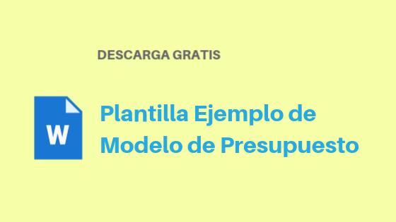 Plantilla Ejemplo Modelo de Presupuesto Word